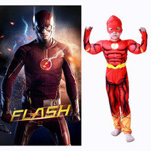 Boys The Flash Muscle Cosplay Costumes Childrens day party Halloween Superhero Fancy Dress Kids Fantasy Comics Movie Costume
