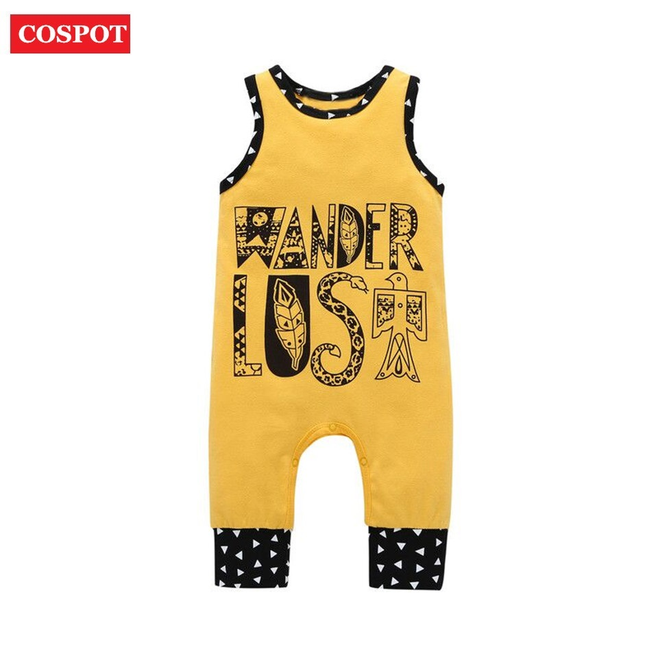 COSPOT Baby Boys Girls Summer Romper Toddler Cute Sleeveless Jumpsuit Kids Fashion Cotton One-piece Jumper 2018 New Arrival 35
