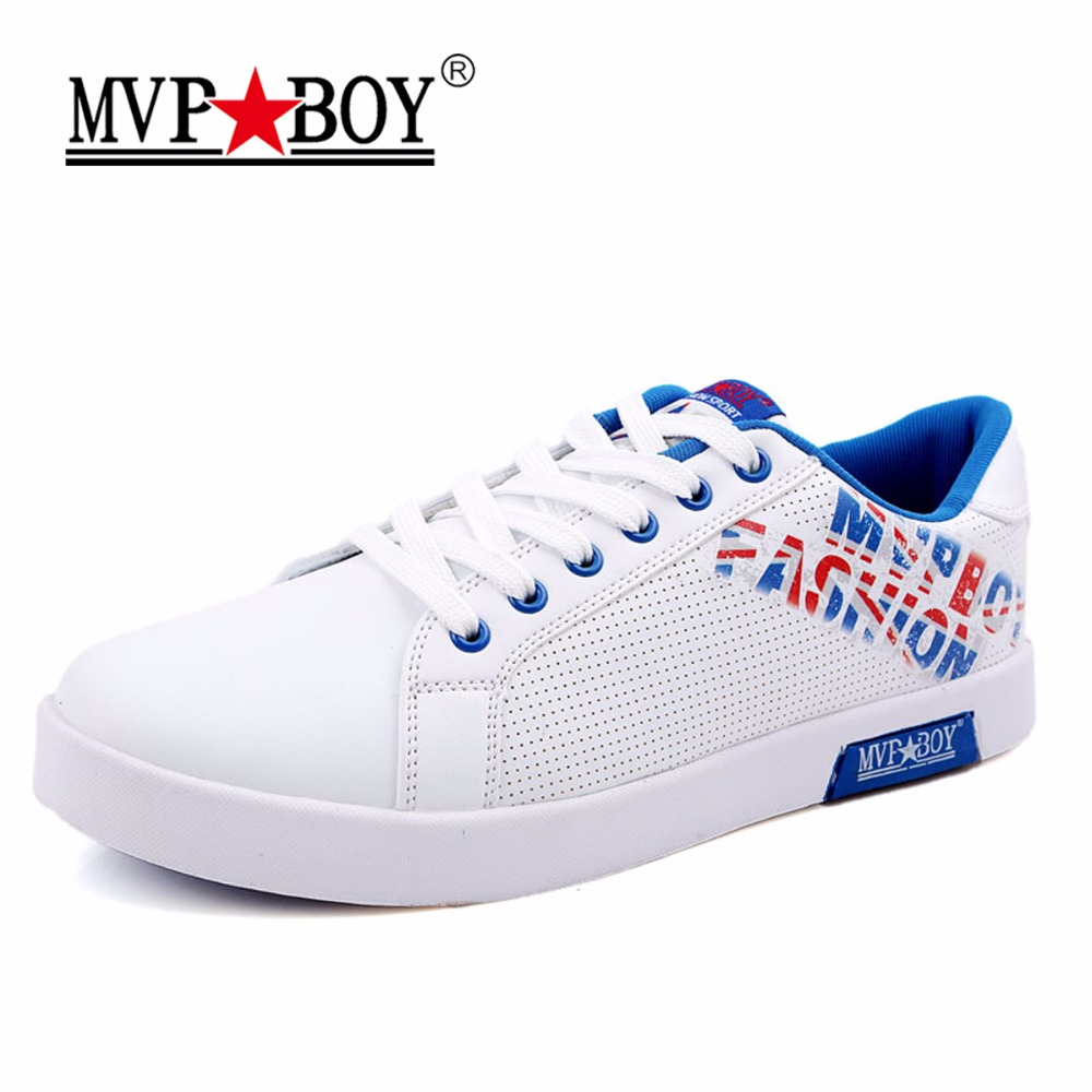 MVP BOY Brand 2017  Summer Breathable Shoes High Quality Men Casual Shoes Classic Solid White Shoes Men Leather Casual Shoes monster mvp white