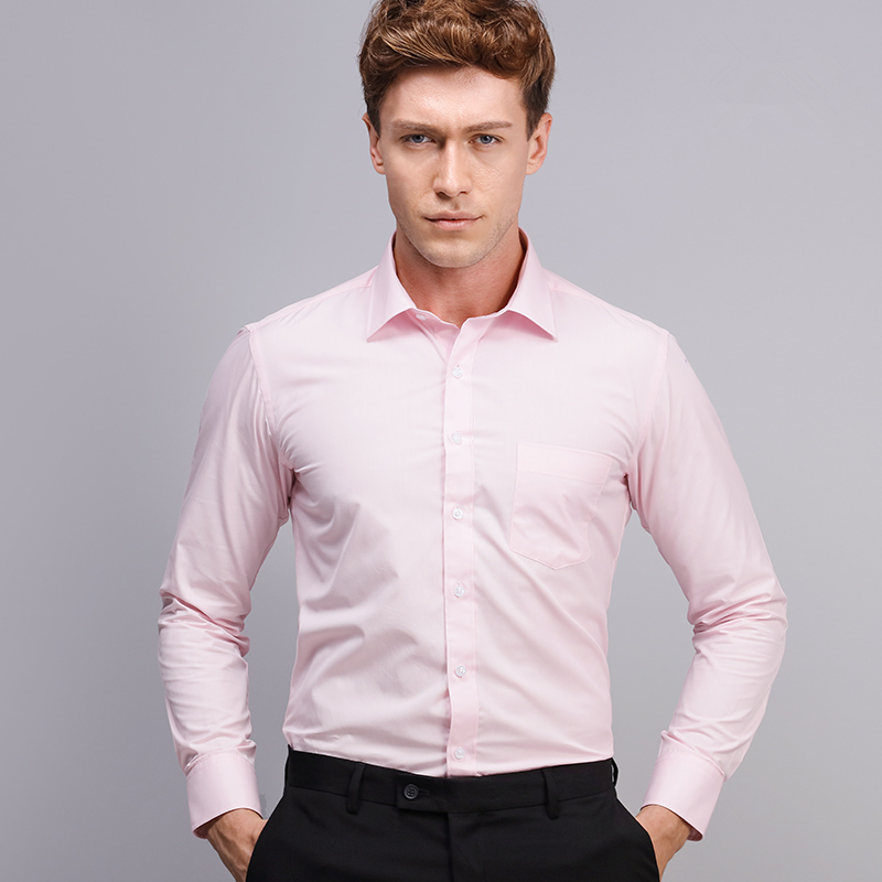 Men's Long Sleeve Pink Solid Dress Shirt Comfort Soft Broadcloth ...