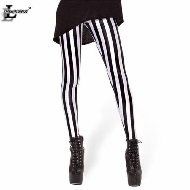 Новый черный, Белый Цвет Полосатый вертикальные печатные леггинсы Готический Творческий Фитнес Для женщин панк Форма пикантные популярные брюки BL-229