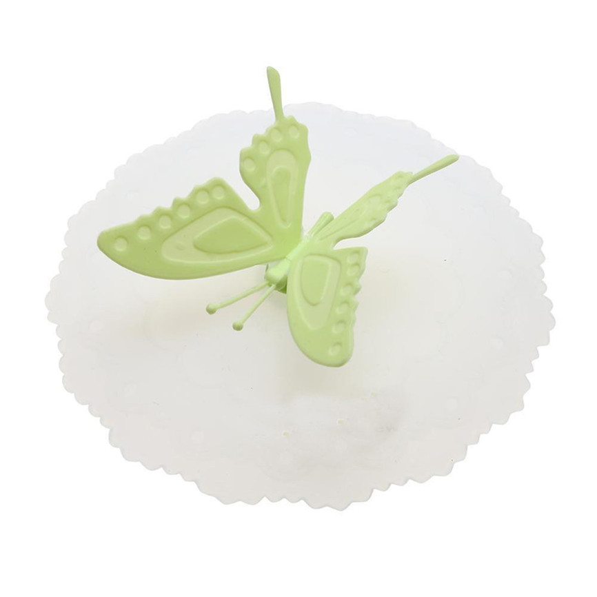 Новинка года качество красочными бабочками и бантиками; герметичная, силиконовая Кофе крышка всасывания Кепки герметичное уплотнение крышка для стакана из дропшиппинг 0935 - Цвет: Green