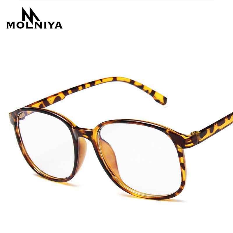 Fashion Men Square Optics Big Eye Frame Glasses Women Retro Light Transparent Leopard Myopia Eyeglasses Frames(China)