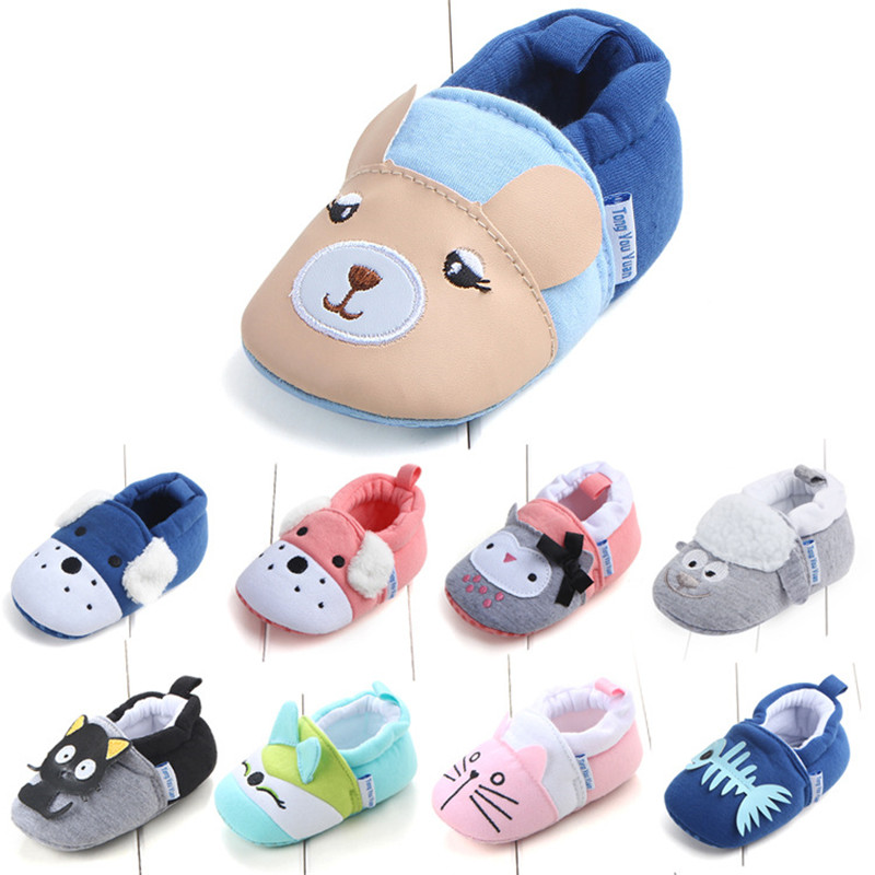 Baby Girl Boy Shoes First Walkers Anti-slip Kids Baby Shoes Animal Cartoon Newborn Infant Toddler Soft Sole Crib Shoes Footwear