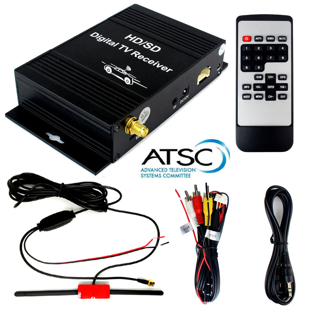 Auto Car ATSC Digital Terrestrial Receiver TV Tuner 4 Video Out Free View FTA HD/SD Channel On Car With Active Amplifier Antenna standalone analog tv tuner box with remote high resolution 1680 1050px view tv on lcd without pc