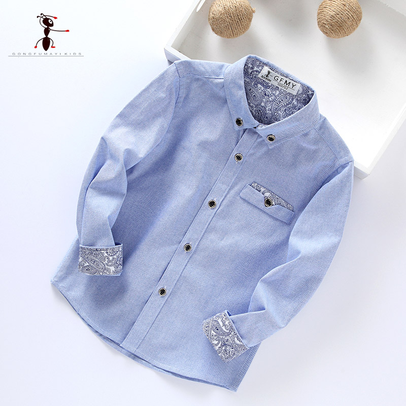 Kung Fu Ant 2017 New Arrival Full Sleeve Boy School Shirts Solid Turn-down Collar Cotton Blouses 3003 kung fu ant plaid long sleeve autumn new arrival turn down collar blusas school blouse boy shirt long sleeve cotton 7105