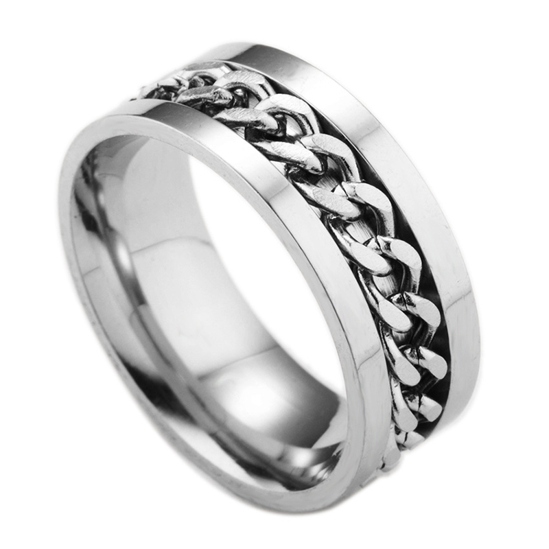 Jewelry & Accessories New Fashion 8mm Mens Stainless Steel Spinner Rotatable Chain Ring Biker Wedding Band Black