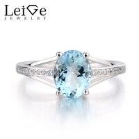 Лейдж Jewelry натуральный голубой аквамарин Кольцо овальным вырезом драгоценный камень Обручение кольцо 925 серебряное кольцо Для женщин кольц