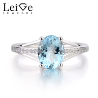 Leige Jewelry Natural Blue Aquamarine Ring Oval Cut Gemstone Birthstone Engagement Ring 925 Sterling Silver Ring Women's Ring