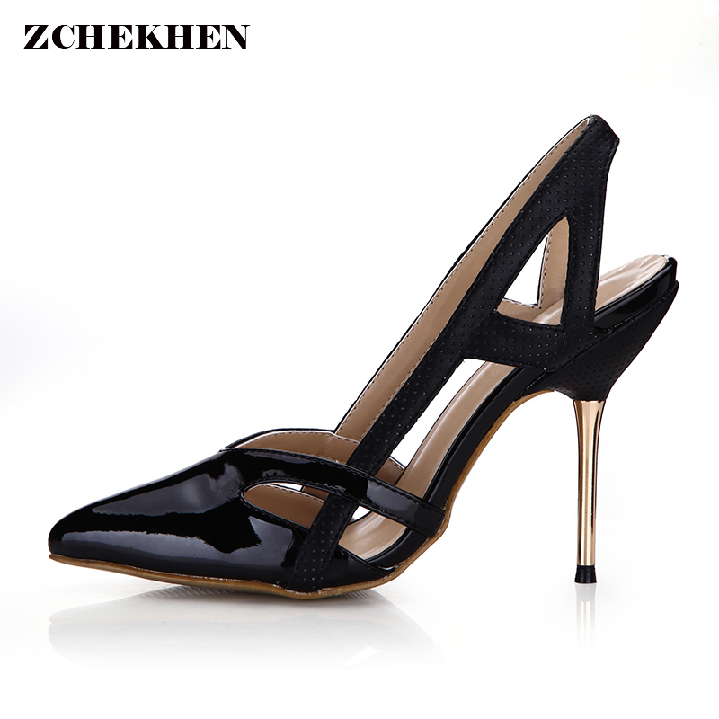 2018 Large Size 35-43 pointed toe summer Women Shoes Woman gold metal High Heels hollow Party Wedding sandals shoes Woman gold sliver shoes woman for 2016 new spring glitter bling pointed toe flats women shoes for summer size plus 35 40 xwd1841