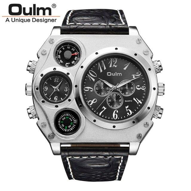 56ad85fd1bc Marca Oulm 1349 Relógios Dos Homens Relógio Masculino relógio de Quartzo-3  Mostradores Pequenos Decoração