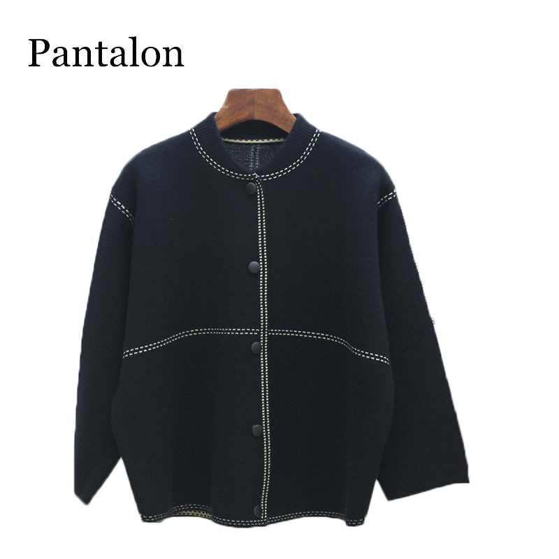 Pantalon Stand Collar Plaid Sweater Women Vintage V neck button long sleeve Female cardigan korean style women Jumper pull femme