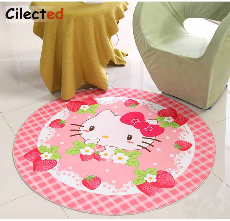 Cilected Hello Kitty Round Carpet For Baby Kids Bedroom Floor Decor Mats Non-slip Living Room Cartoon Matting Area Rugs
