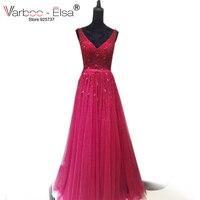 שמלת חתונה בציר תחרה חרוזים קריסטל אדום VARBOO_ELSA סין סגנון הכלה שמלות כלה 2017 שמלת כלה באיכות גבוהה מותאם אישית