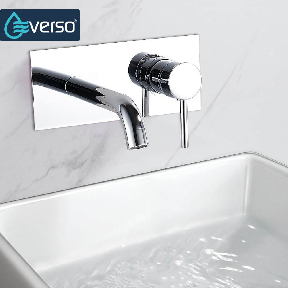 EVERSO Wall Mounted Chrome Brass Bathroom Basin Faucet Vanity Sink Mixer Tap Single Handle Bathroom Faucet chrome framed wall mounted bathroom make