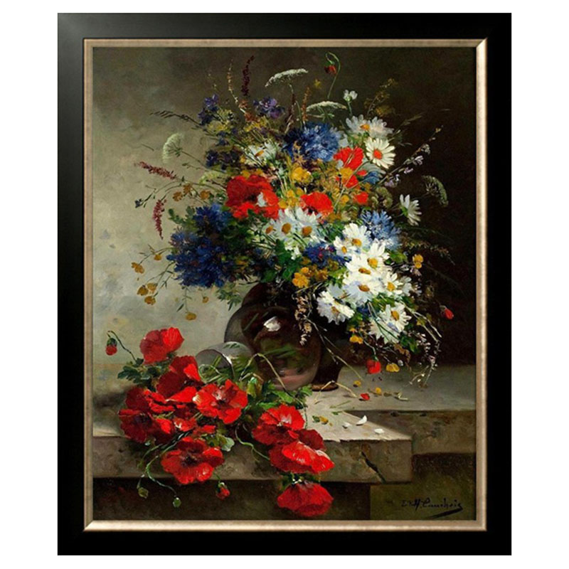 Golden Panno,Needlework,Embroidery,DIY Floral Painting,Cross stitch,kits,14ct Poppies flowers Cross stitch,Sets For Embroidery