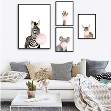 Cartoon Zebra Giraffe Koala Balloon Wall Art Canvas Painting Nordic Style Print Cute Animal Pictures for Baby Room Decor