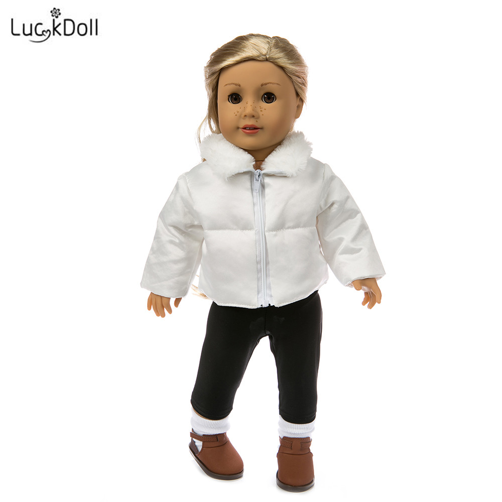 LUCKDOLL White Cotton Jacket Fit 18 Inch American Doll Clothes Accessories,Girls Toys,Generation,Birthday Gift