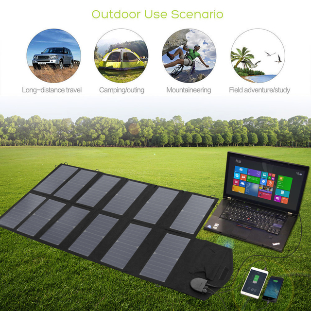 Solar Panel 80W Solar Panel Charger for iPhone Sumsung Phones Lenovo HP Dell Acer Laptops 12V Car Battery