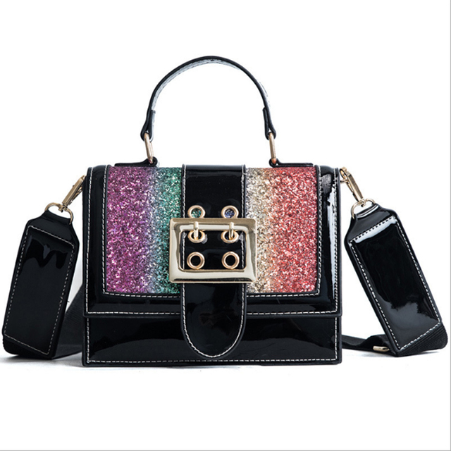 55cf6d5f18 Bling sequined messenger bag wide strap design women messenger bag fashion  glitter diamonds shoulder bag 2018 flap bolsas