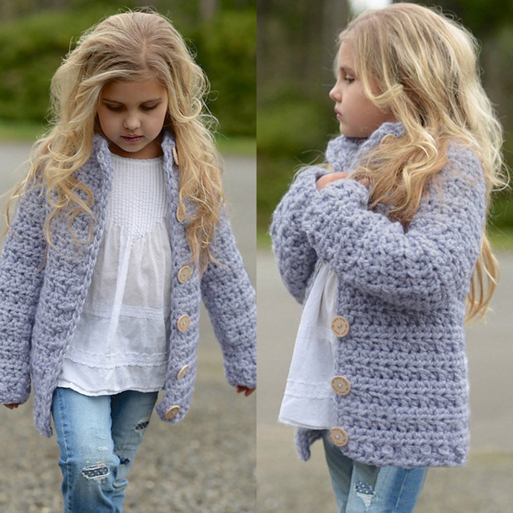 2018 Girls Sweater Toddler Kids Baby Girls Outfit Clothes Button Knitted Sweater Kids Cardigan Coat Tops for Girl clothing 3-7Y knitting