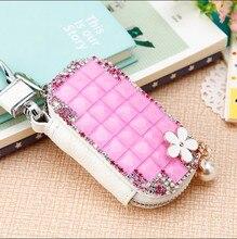 Coréenne Creative Cadeau De Luxe de haute qualité diamant fleurs en cuir Véritable clé De Voiture portefeuille dame de mode bourse Gouvernante