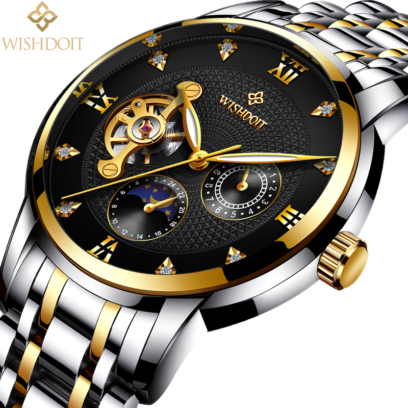 WISHDOIT Men Mechanical Watches Sports Business Waterproof Casual Fashion Steel Men's Watch Military Male Clock Top Luxury Brand lige men watch top luxury brand men s business mechanical watches casual fashion sports waterproof military male clock clearance