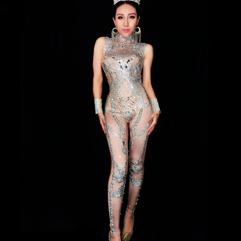 Jazz Dance Costumes Sparkly Silver Crystals Jumpsuit Birthday Party Costume Sexy Nightclub Nude Jumpsuit Performance Wear DN2001