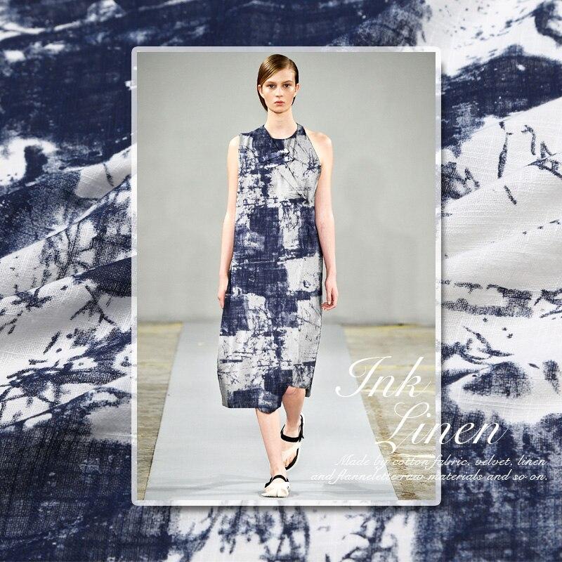 super haut de gamme luxe de colorant bleu et blanc cowboy lin coton mlang naturelle prs - Colorant Tissu