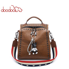2018 doodoo casual women backpack female travel bag leather backpacks school shoulder bags for girl rucksacks