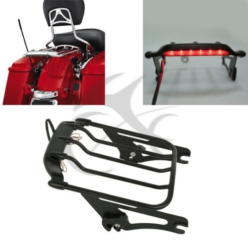 2 Up Pack Air Wing Luggage Rack w/ Light For Harley Touring  Street Road Glide Ultra Classic FLTR FLHX saddlebag lid rack top rail w light for harley touring ultra street electra glide 94 13