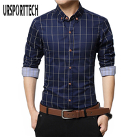 Mens Plaid Shirt 100 Cotton 2017 Spring Autumn Casual Long Sleeve Shirt Soft Comfort Slim Fit