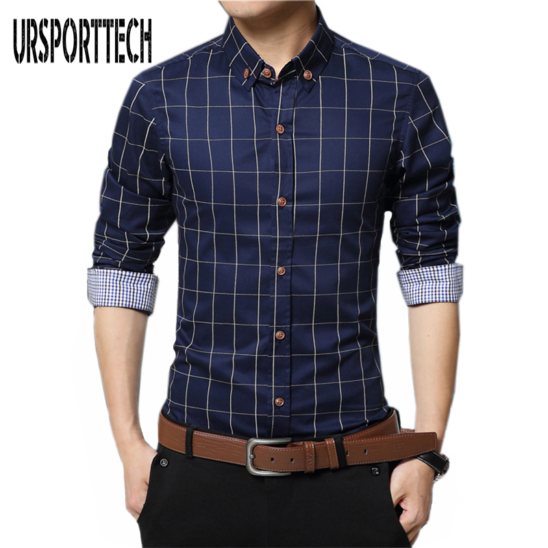 Mens Plaid Shirt 100% Cotton 2017 Spring Autumn Casual Long Sleeve Shirt Soft Comfort Slim Fit Styles Brand Man Clothes M-5XL