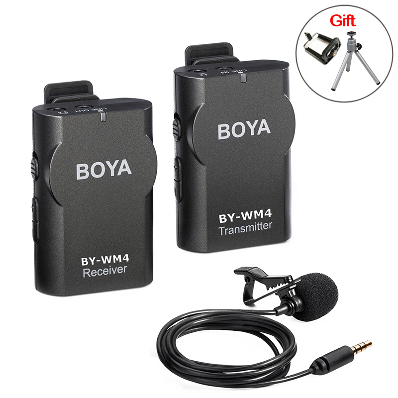 BOYA BY-WM4 Wireless Lavalier Microphone system for Canon Nikon Sony Panasonic DSLR Camera Camcorder iphone android smartphone boya by wm4 wireless lavalier microphone system for canon nikon sony panasonic dslr camera camcorder iphone android smartphone