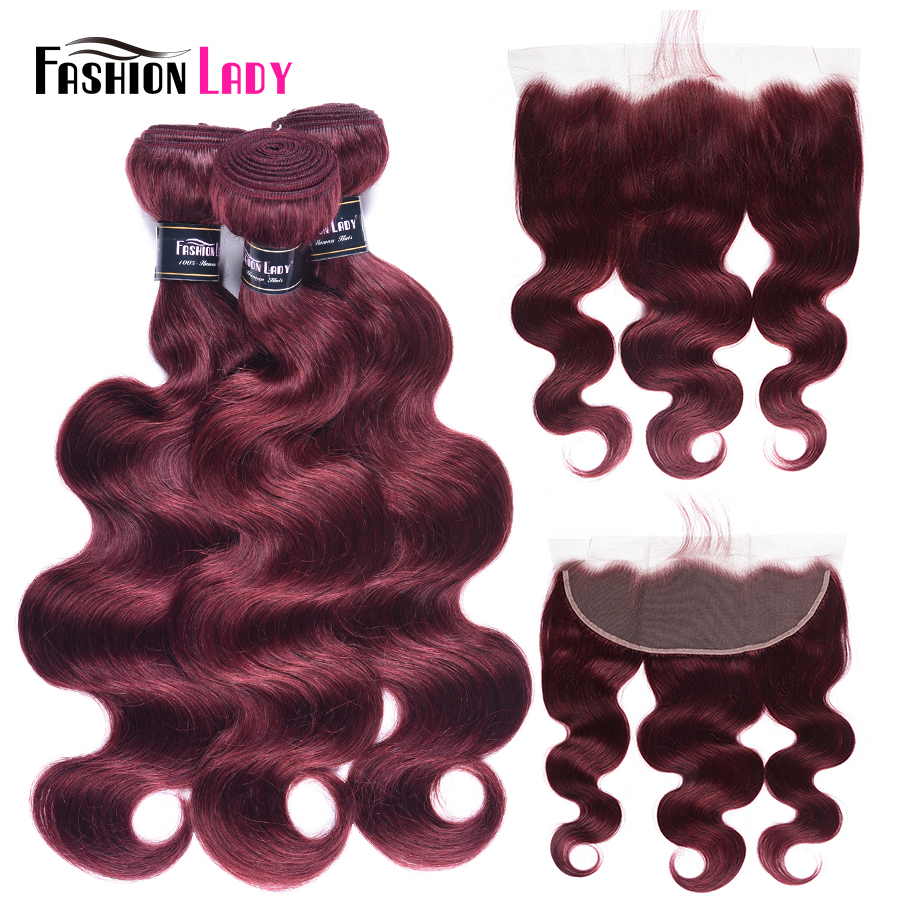 Fashion Lady Pre-Colored 3 Bundles With Lace Frontal 99j Mahogany Brazilian Human Hair Bundles With Closure Body Wave Non-Remy