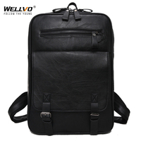 Wellvo Men PU Fashion Leather Backpack Teenager Vitage Backpacks Korean Japan Style School Laptop Bags Women Shoulder XA92WC