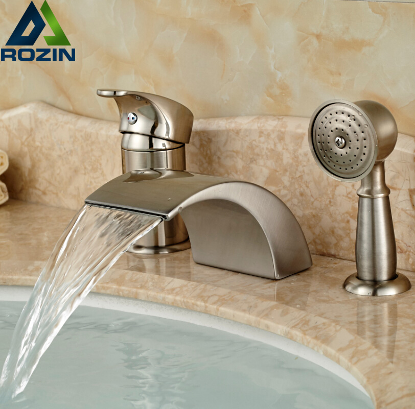 Deck Mount Waterfall 3pcs Bathroom Tub Faucet Set Bathroom Bath Shower Mixer Water Taps Brushed