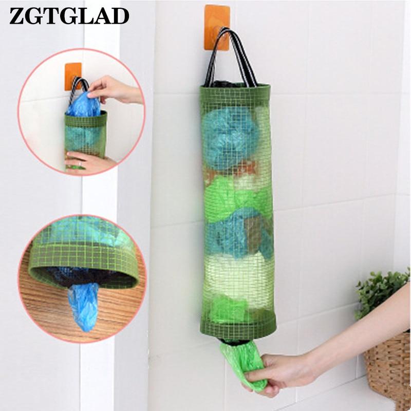 ZGTGLAD Can be hung transparent grid kitchen trash bag pouch kitchen bag