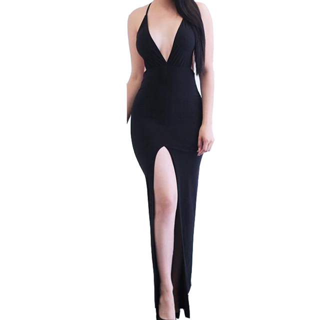 Women Dress Black Cross Strappy Split Long Dress High Waist Deep