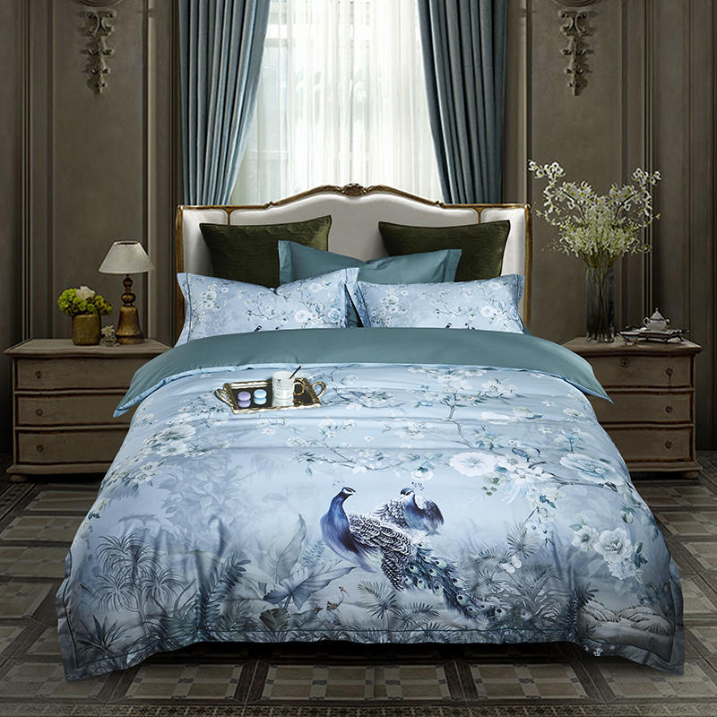 Famvotar Chinoiserie Chic Peacock Floral Duvet Cover Paradise Garden Bedding Set Egyptian Cotton Bed Linen Bedspread 4 Pcs Sets(China)