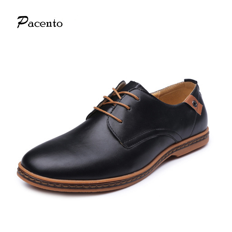 PACENTO New Arrivals Luxury Brand Shoes Men 2017 High Quality Leather Men Flat Lace-up Mens Shoe Large Size 12.5 Zapatos Hombre pacento 2017 luxury brand shoes men genuine leather mens shoes comfortable moccasins mens loafers flats shoe sapato masculino
