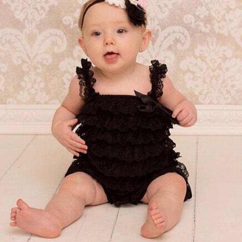 f4355f7eec0 Hot Baby Black Lace Ruffled Rompers Girls Boys Posh Petti Strap Romper with Ribbon  Bow and