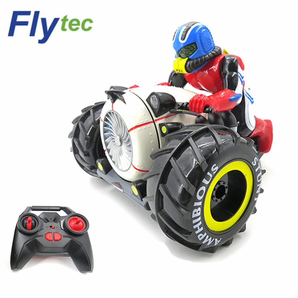 Brand Flytec 989-333 Amphibious RC Motorcycle Boat 4WD 15km/H 2.4GHz Wireless Stunt RC Cars RC With LED Light Toy For Children