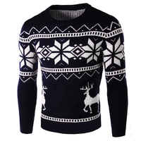 Christmas Polo Sweaters Men Outerwear Knitted O neck Casual Brand Sweater Men Spring and Autumn Deer Pullover Swearter Men B123