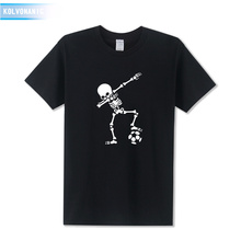 2019 Fashion Anime Dabbing Skeleton Funny Skull Printed T Shirt Men Cotton Dab Hip Hop Punk Black T-Shirts Hombre Plus Size Tops цена