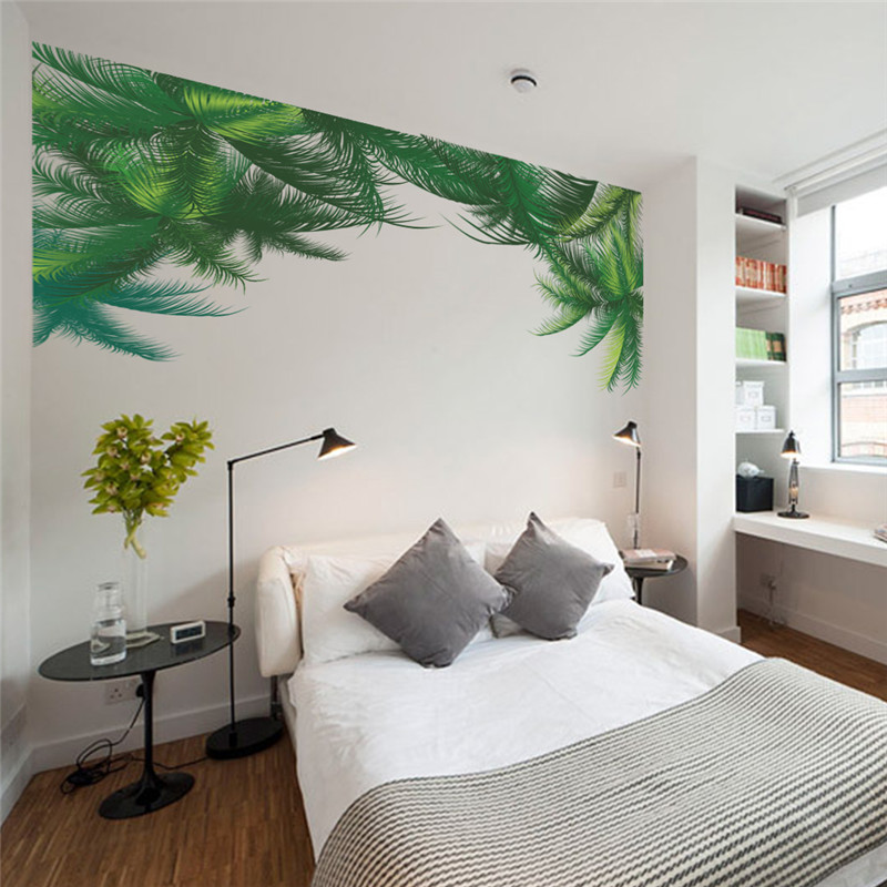 Aliexpress.com : Buy % Green Palm Tree Wall Sticker Living Room Bedroom TV  Background Decor Wall Decal Art Home Decor 3d Mural Art Poster Wallpaper  From ... Part 34
