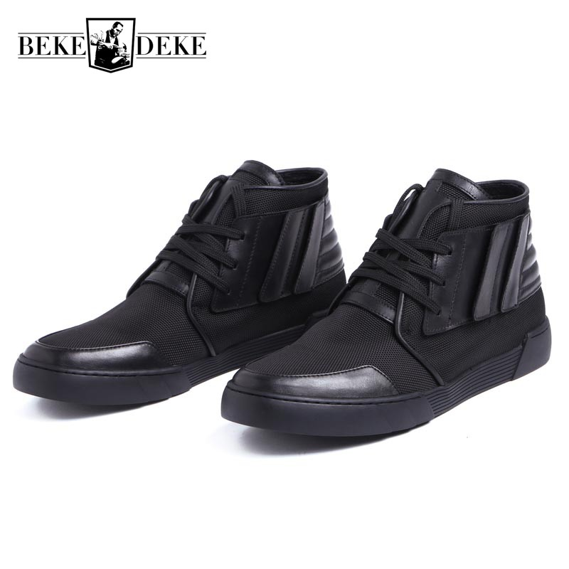 Fashion High Top Mens Genuine Leather Work Casual Shoes Lace Up Tenis Flats Footwear Breathable Male Shoes Punk Zapatos Hombre spring ultra light mens shoes men casual leather mans footwear zapatos hombre presto lace up breathable air chaussure homme 95