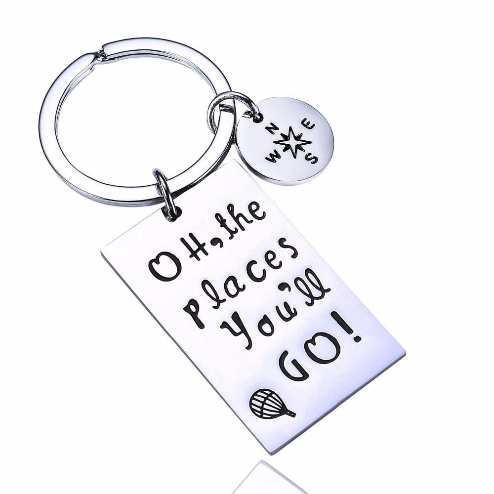 12PC/Lot Oh The Places You'll Go Stainless Steel Keychain Wanderlust Traveling Women Men Graduation Gifts Compass Charm Keyring image