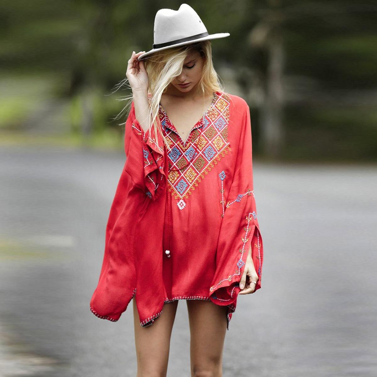 rouge Plage Noir Blusa Manches V Chemise Bohème Gland Automne Femmes À Casual Broderie blanc cou Longues Top Hippie Blouses Blouse Vintage Chemises nPRxzwq