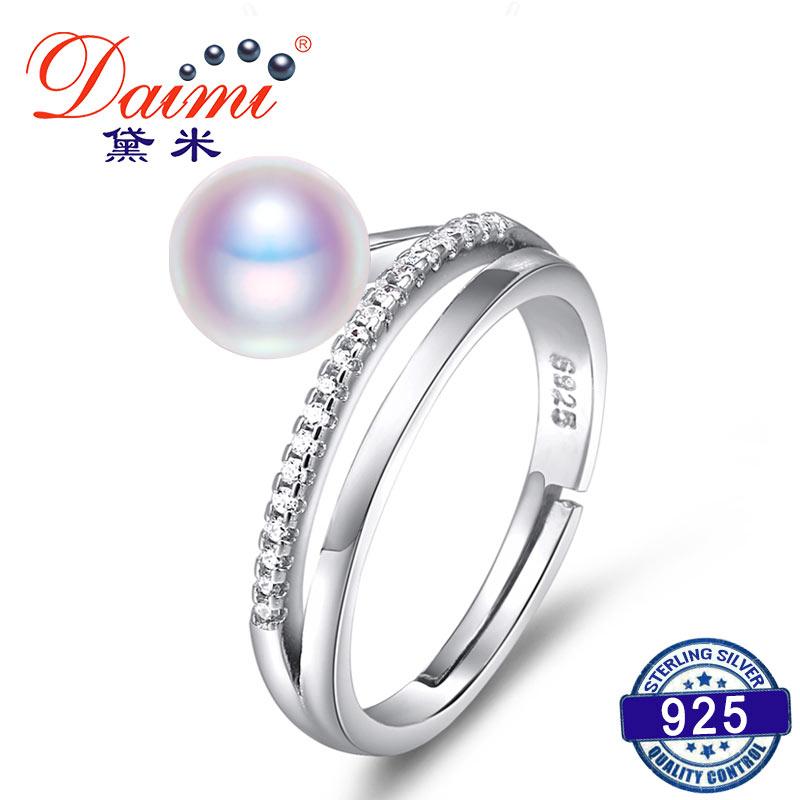 DAIMI Ring 7-8 MM Süßwasser Perle Ring 6 Farbe Mode Nettes Geschenk - Edlen Schmuck - Foto 1